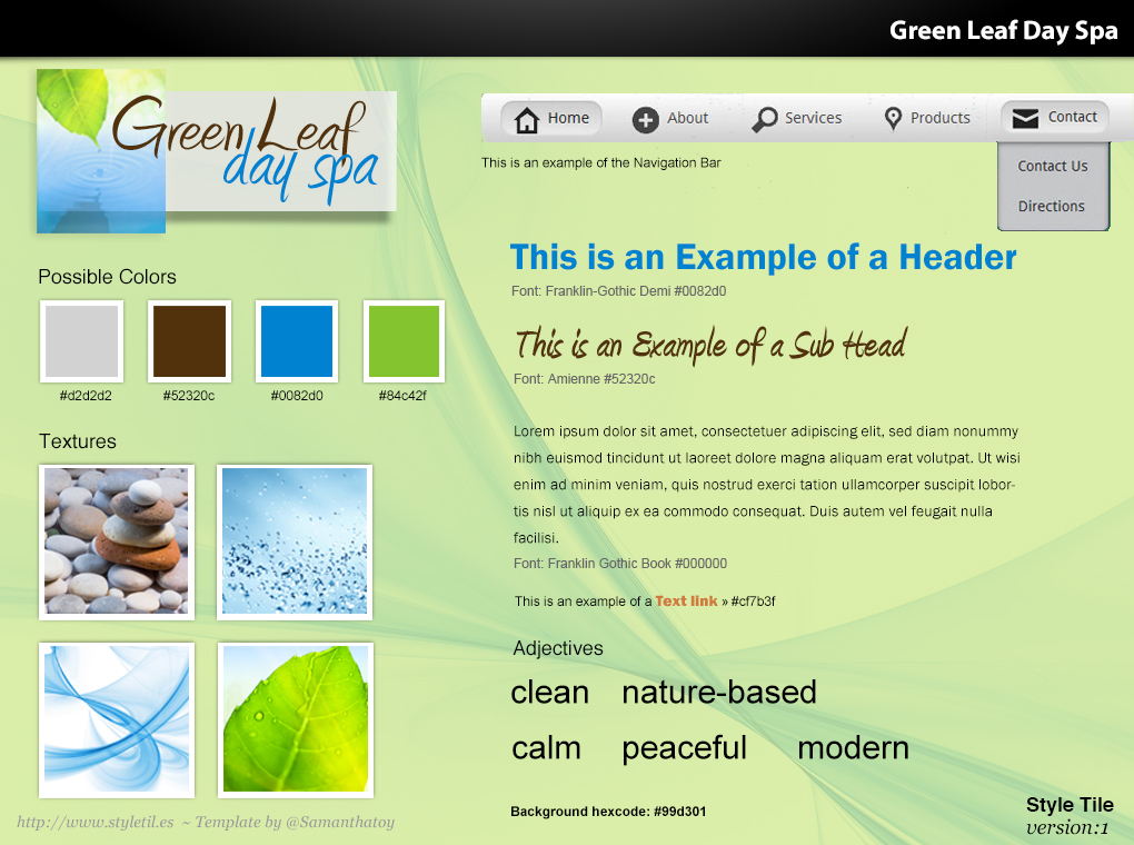 Green Leaf Day Spa mood board